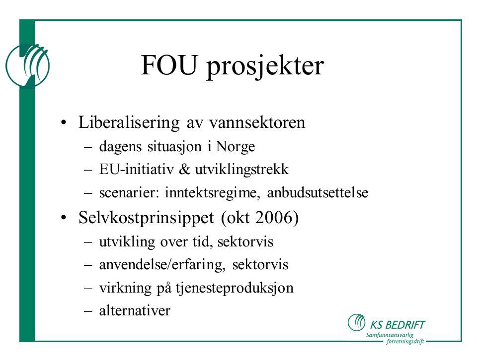 FOU prosjekter Liberalisering av vannsektoren –dagens situasjon i Norge –EU-initiativ & utviklingstrekk –scenarier: inntektsregime, anbudsutsettelse Selvkostprinsippet (okt 2006) –utvikling over tid, sektorvis –anvendelse/erfaring, sektorvis –virkning på tjenesteproduksjon –alternativer