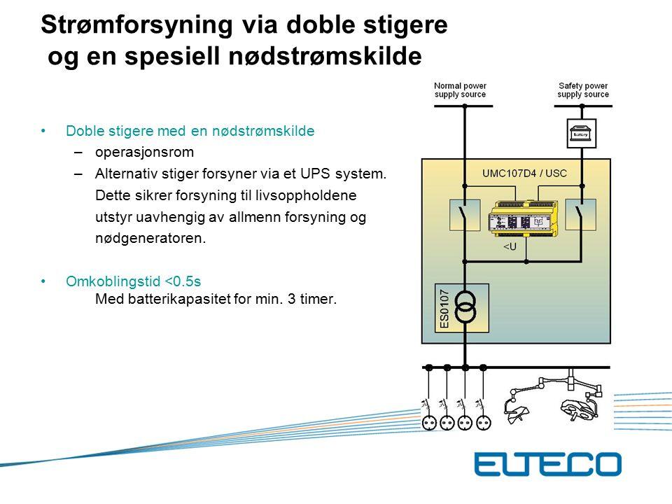 Strømforsyning via doble stigere og en spesiell nødstrømskilde Doble stigere med en nødstrømskilde –operasjonsrom –Alternativ stiger forsyner via et UPS system.