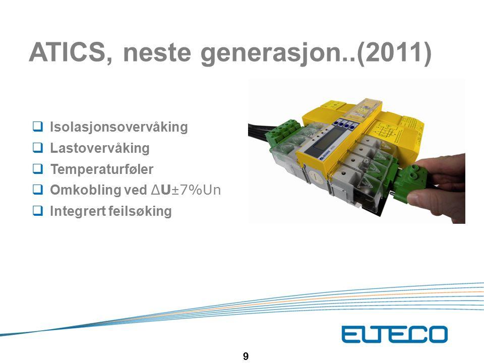 9 ATICS, neste generasjon..(2011)  Isolasjonsovervåking  Lastovervåking  Temperaturføler  Omkobling ved ΔU±7%Un  Integrert feilsøking