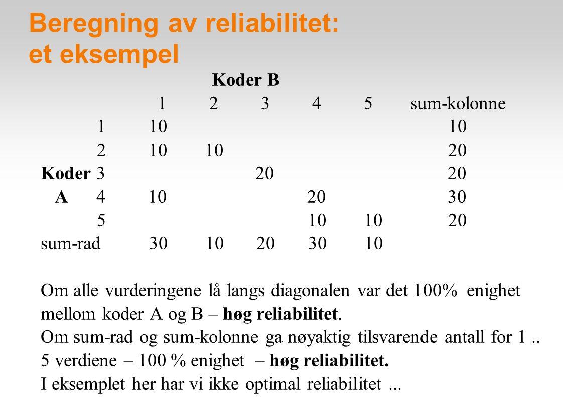 Beregning av reliabilitet: et eksempel Koder B 1 2 3 4 5 sum-kolonne 1 10 10 2 10 10 20 Koder 3 20 20 A 4 10 20 30 5 10 10 20 sum-rad 30 10 20 30 10 Om alle vurderingene lå langs diagonalen var det 100% enighet mellom koder A og B – høg reliabilitet.