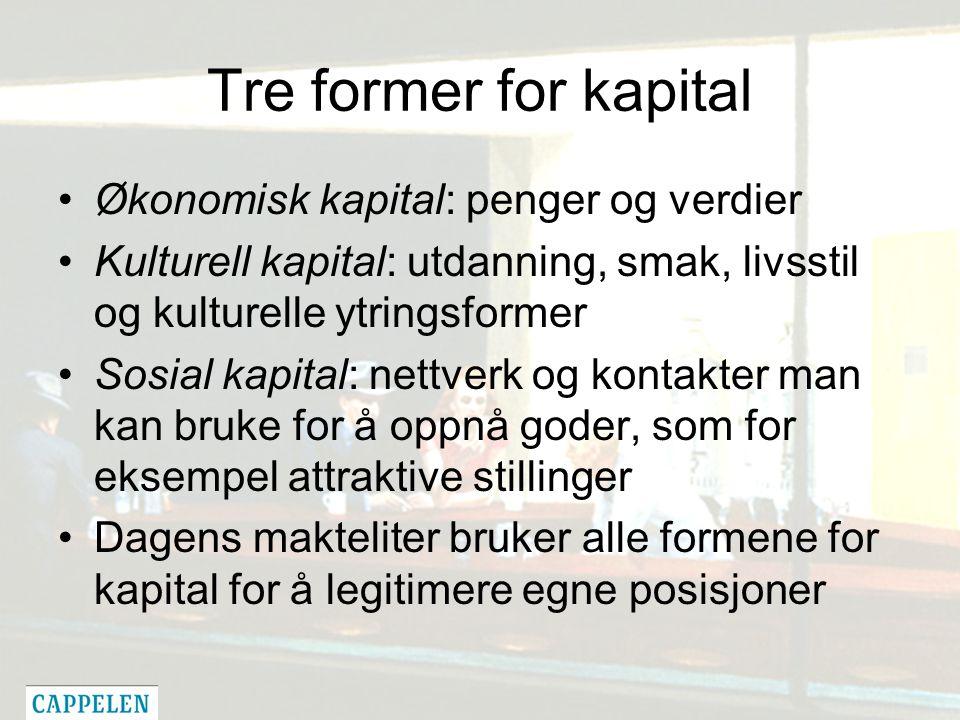Tre former for kapital Økonomisk kapital: penger og verdier Kulturell kapital: utdanning, smak, livsstil og kulturelle ytringsformer Sosial kapital: n