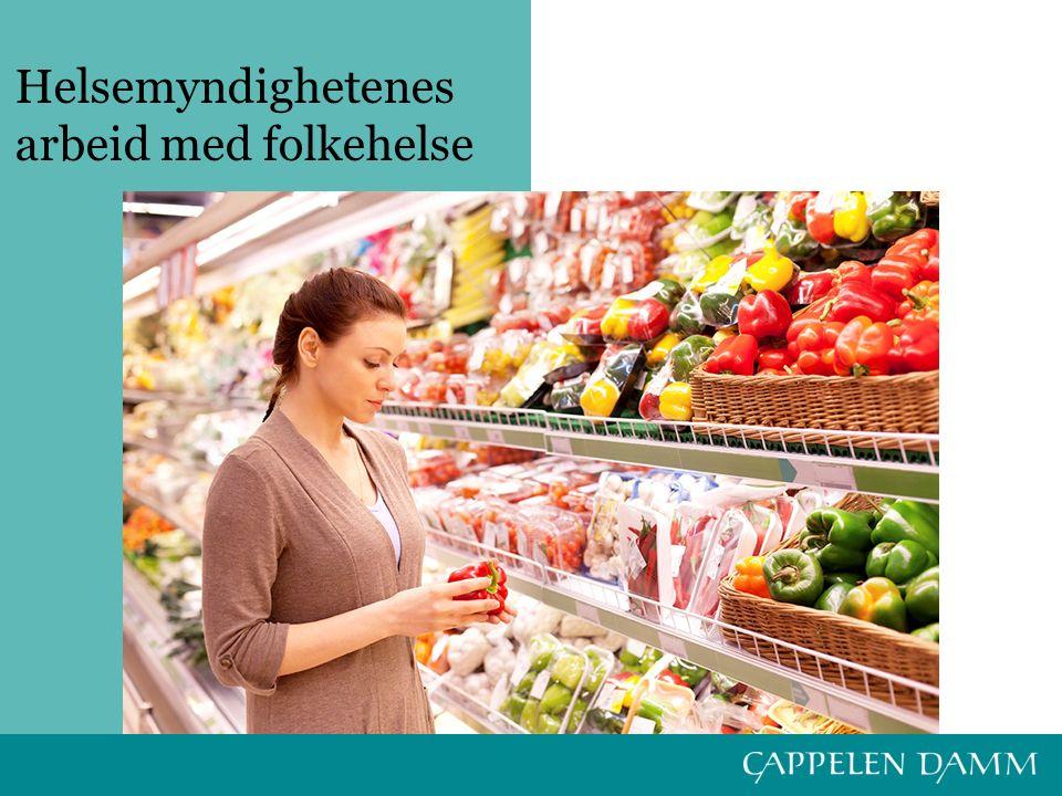 Myndighetene har det overordede ansvaret for folkehelsa Dette ansvaret skjer på en rekke områder: –Lover knyttet til helse –Regulering av priser og tilgang på varer som påvirker helsa –Helseopplysning –Helsevern –Merking av mat