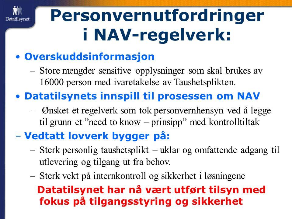 Personvernutfordringer i NAV-regelverk: Overskuddsinformasjon –Store mengder sensitive opplysninger som skal brukes av 16000 person med ivaretakelse av Taushetsplikten.