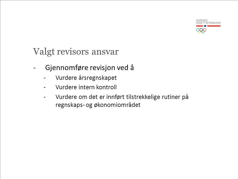 Valgt revisors ansvar -Gjennomføre revisjon ved å -Vurdere årsregnskapet -Vurdere intern kontroll -Vurdere om det er innført tilstrekkelige rutiner på regnskaps- og økonomiområdet