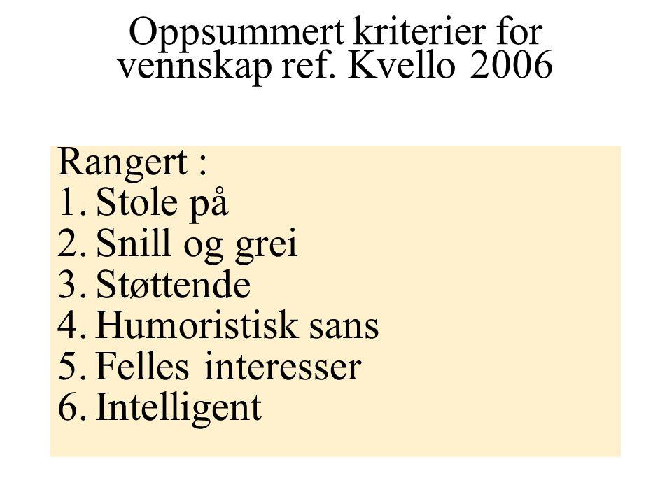 Oppsummert kriterier for vennskap ref. Kvello 2006 Rangert : 1.Stole på 2.Snill og grei 3.Støttende 4.Humoristisk sans 5.Felles interesser 6.Intellige