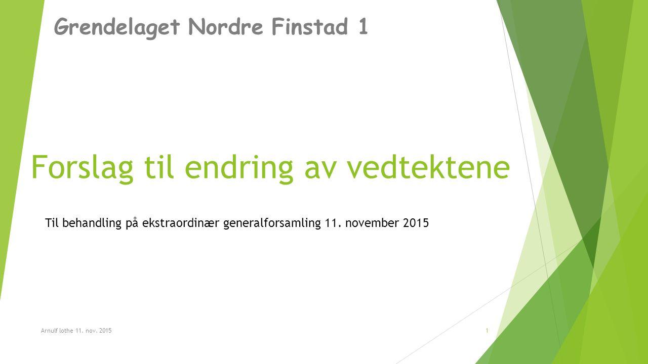 Forslag til endring av vedtektene Grendelaget Nordre Finstad 1 Arnulf lothe 11.
