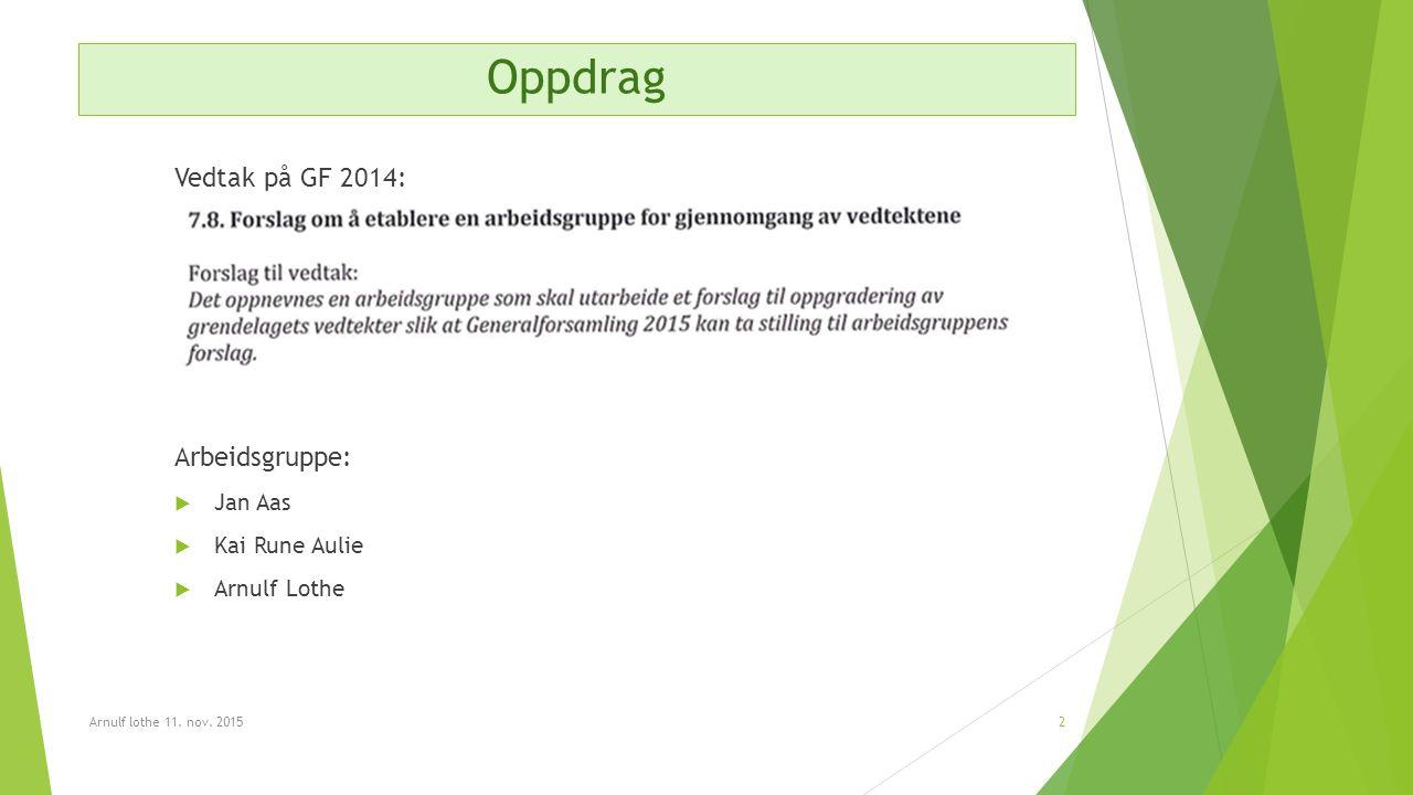 Oppdrag Vedtak på GF 2014: Arbeidsgruppe:  Jan Aas  Kai Rune Aulie  Arnulf Lothe Arnulf lothe 11.