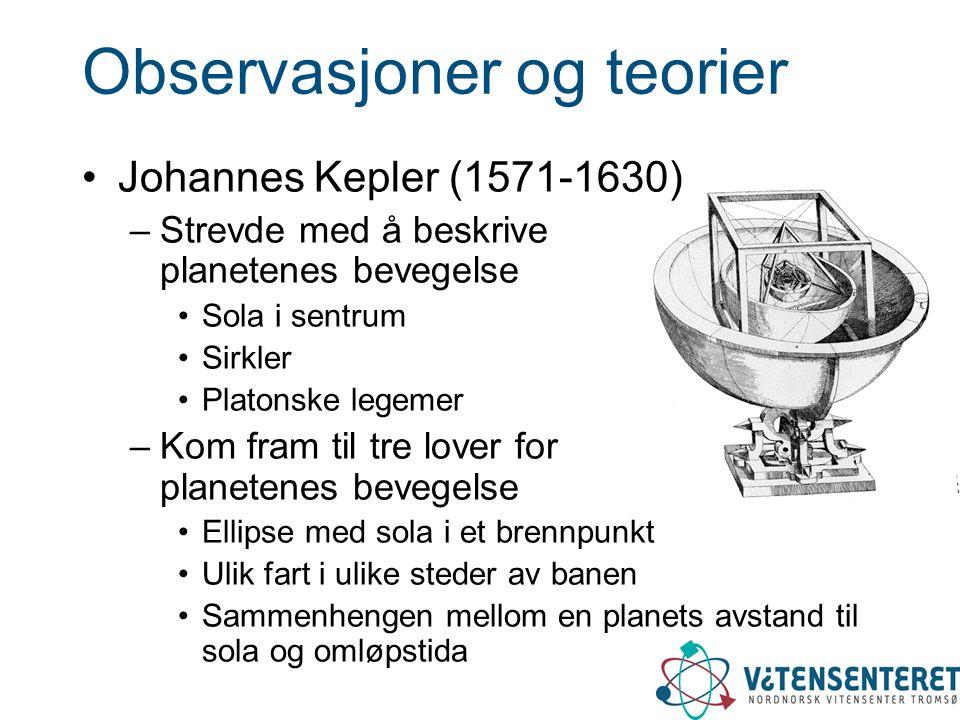 Observasjoner og teorier Johannes Kepler (1571-1630) –Strevde med å beskrive planetenes bevegelse Sola i sentrum Sirkler Platonske legemer –Kom fram t