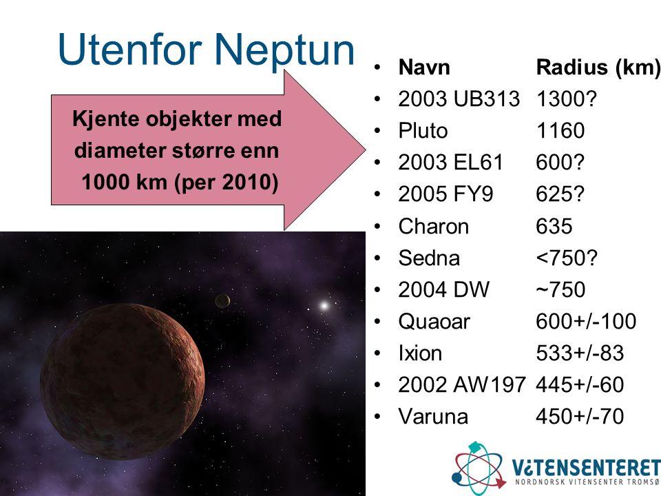 Utenfor Neptun NavnRadius (km) 2003 UB3131300? Pluto1160 2003 EL61600? 2005 FY9625? Charon635 Sedna<750? 2004 DW~750 Quaoar600+/-100 Ixion533+/-83 200
