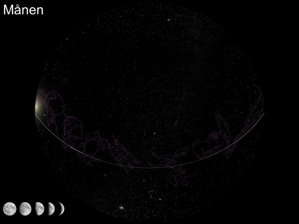 Observasjoner (figurer som viser sola, månen og planetene i forhold til stjernehimmelen) Merkur i forhold til sola