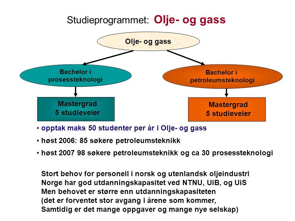 Studieprogrammet: Olje- og gass Olje- og gass Bachelor i prosessteknologi Bachelor i petroleumsteknologi Mastergrad 5 studieveier Mastergrad 5 studieveier opptak maks 50 studenter per år i Olje- og gass høst 2006: 85 søkere petroleumsteknikk høst 2007 98 søkere petroleumsteknikk og ca 30 prosessteknologi Stort behov for personell i norsk og utenlandsk oljeindustri Norge har god utdanningskapasitet ved NTNU, UiB, og UiS Men behovet er større enn utdanningskapasiteten (det er forventet stor avgang i årene som kommer, Samtidig er det mange oppgaver og mange nye selskap)