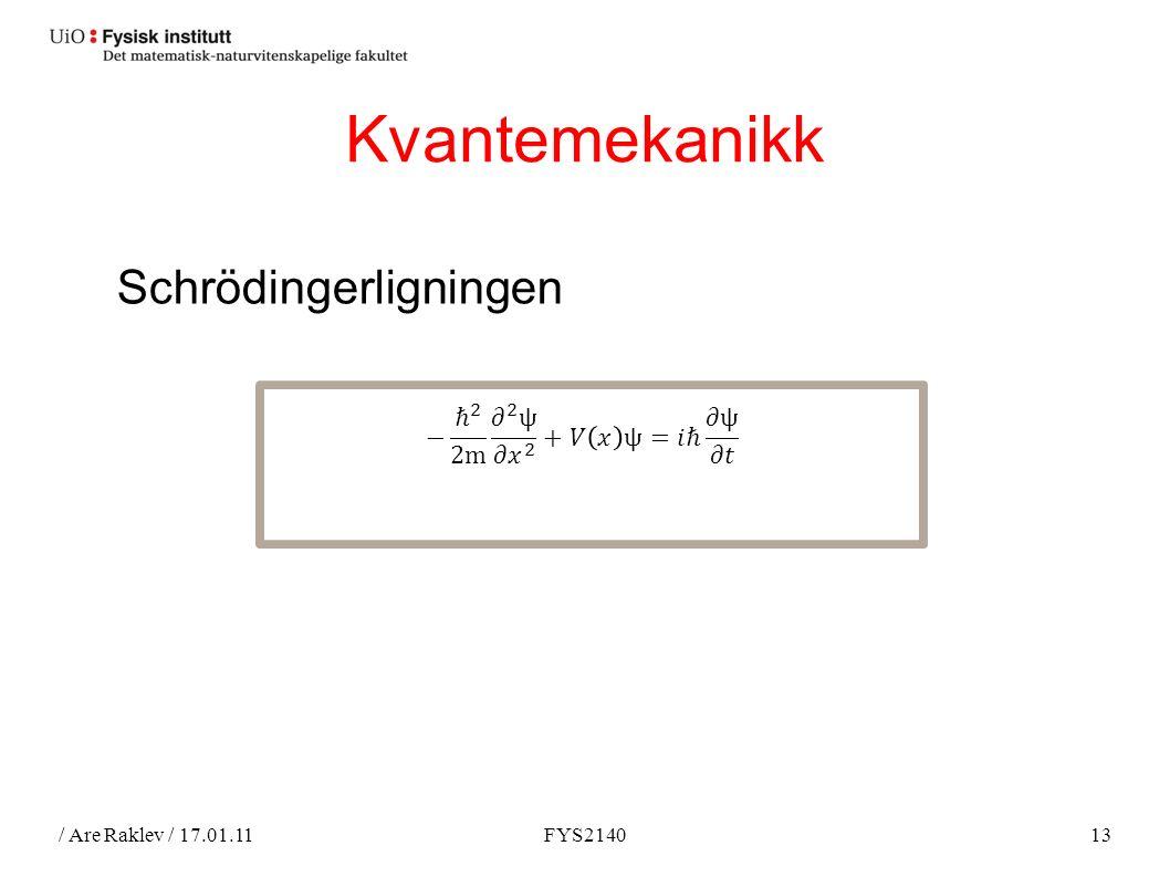 / Are Raklev / 17.01.11FYS214013 Kvantemekanikk Schrödingerligningen