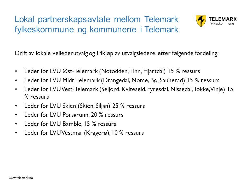 www.telemark.no Drift av lokale veilederutvalg og frikjøp av utvalgsledere, etter følgende fordeling; Leder for LVU Øst-Telemark (Notodden, Tinn, Hjar