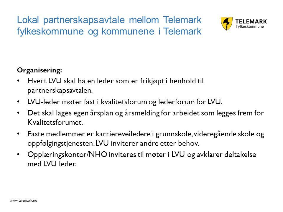 www.telemark.no Organisering: Hvert LVU skal ha en leder som er frikjøpt i henhold til partnerskapsavtalen. LVU-leder møter fast i kvalitetsforum og l