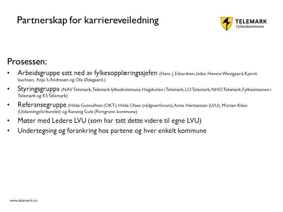 www.telemark.no Partnerskap for karriereveiledning Prosessen: Arbeidsgruppe satt ned av fylkesopplæringssjefen (Hans J. Edvardsen, leder, Hennie Westg