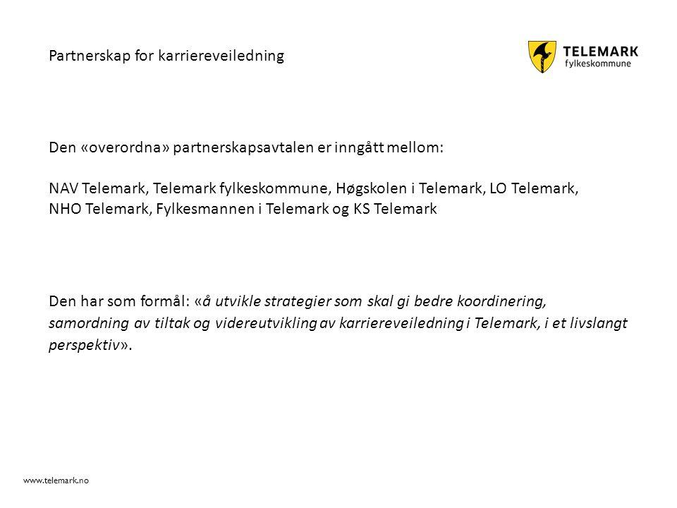 www.telemark.no Den har som formål: «å utvikle strategier som skal gi bedre koordinering, samordning av tiltak og videreutvikling av karriereveilednin