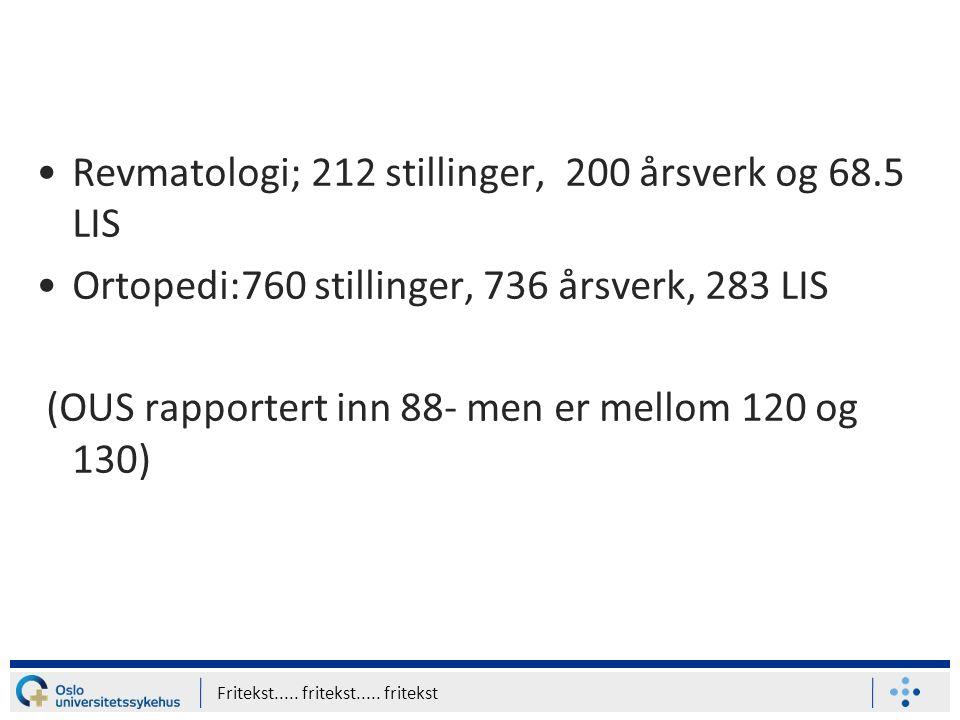 Revmatologi; 212 stillinger, 200 årsverk og 68.5 LIS Ortopedi:760 stillinger, 736 årsverk, 283 LIS (OUS rapportert inn 88- men er mellom 120 og 130) Fritekst.....