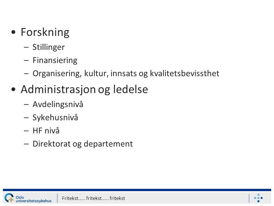 Forskning –Stillinger –Finansiering –Organisering, kultur, innsats og kvalitetsbevissthet Administrasjon og ledelse –Avdelingsnivå –Sykehusnivå –HF ni