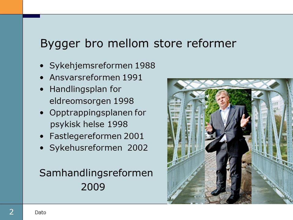 2 Dato Bygger bro mellom store reformer Sykehjemsreformen 1988 Ansvarsreformen 1991 Handlingsplan for eldreomsorgen 1998 Opptrappingsplanen for psykis