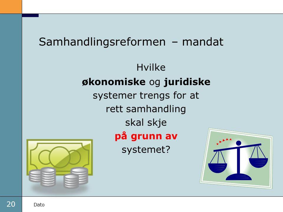 20 Dato Samhandlingsreformen – mandat Hvilke økonomiske og juridiske systemer trengs for at rett samhandling skal skje på grunn av systemet?