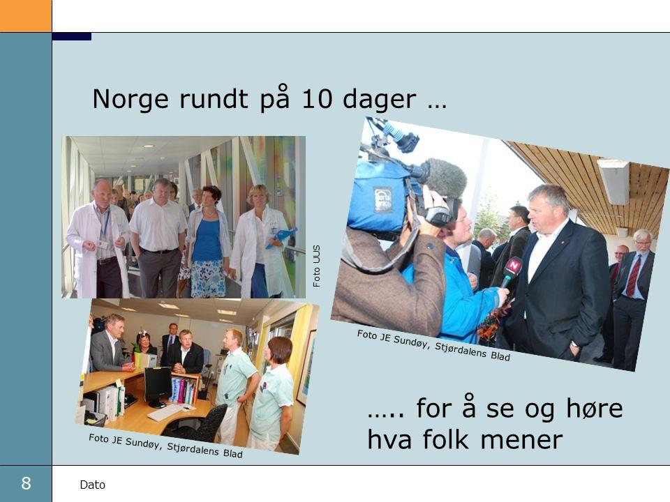 8 Dato Norge rundt på 10 dager … ….. for å se og høre hva folk mener Foto JE Sundøy, Stjørdalens Blad Foto UUS
