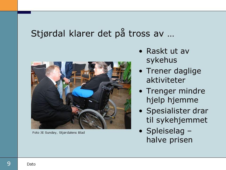 9 Dato Stjørdal klarer det på tross av … Raskt ut av sykehus Trener daglige aktiviteter Trenger mindre hjelp hjemme Spesialister drar til sykehjemmet