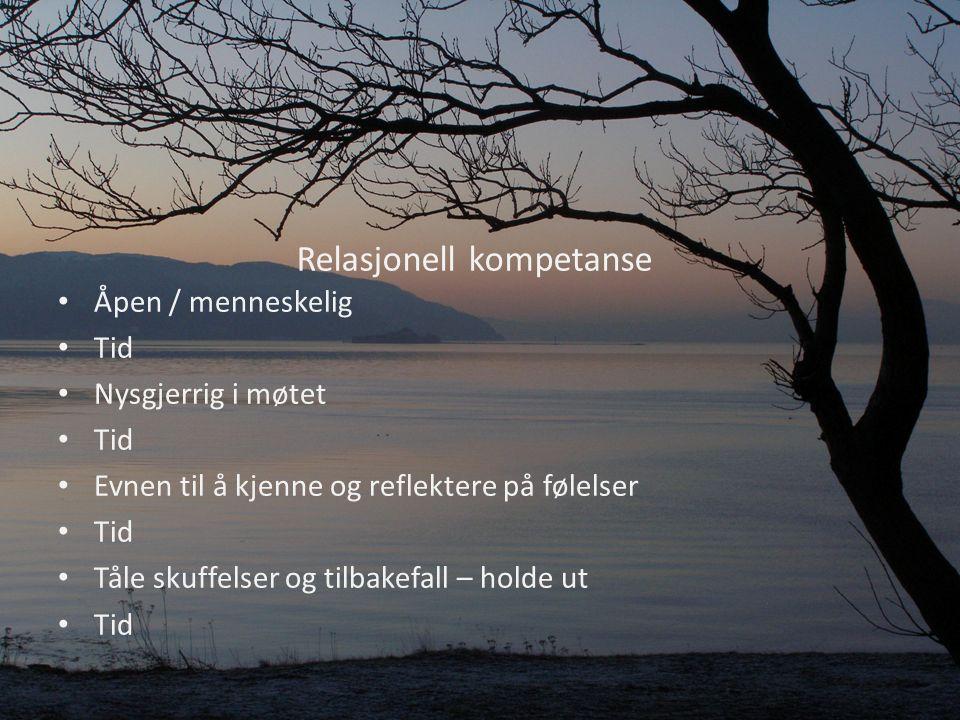 Relasjonell kompetanse Åpen / menneskelig Tid Nysgjerrig i møtet Tid Evnen til å kjenne og reflektere på følelser Tid Tåle skuffelser og tilbakefall – holde ut Tid