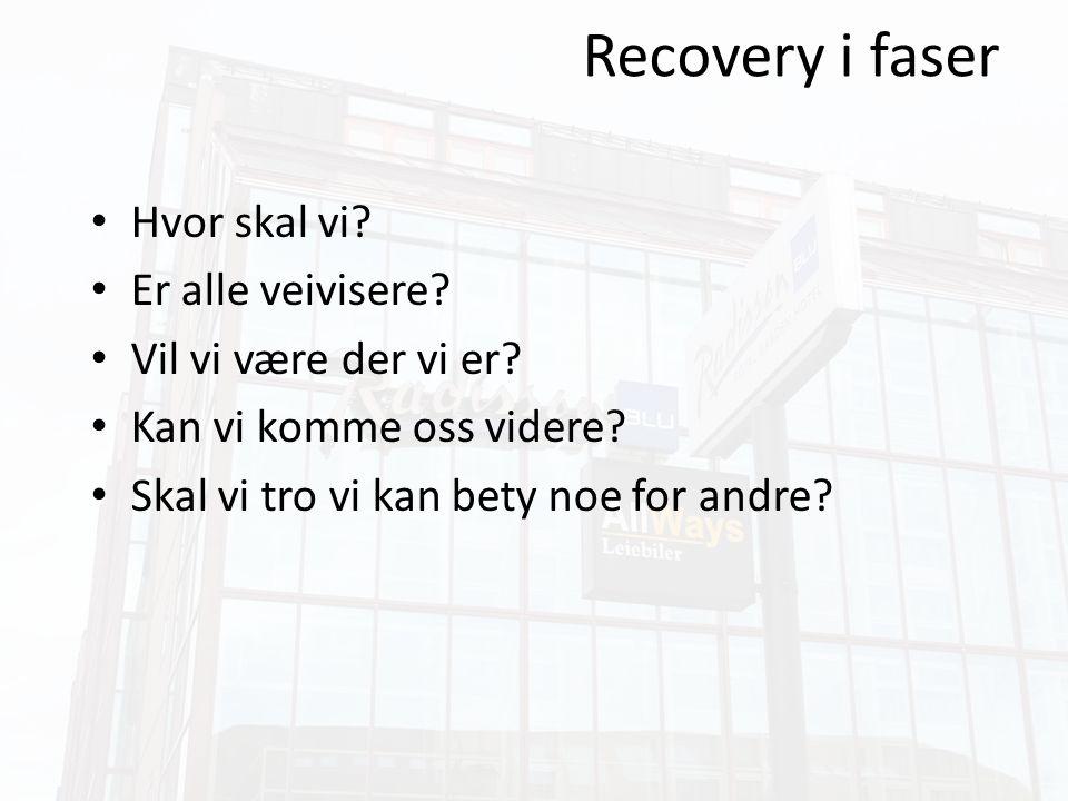 Recovery i faser Etablere autonomi og egenkontroll for pasientene.
