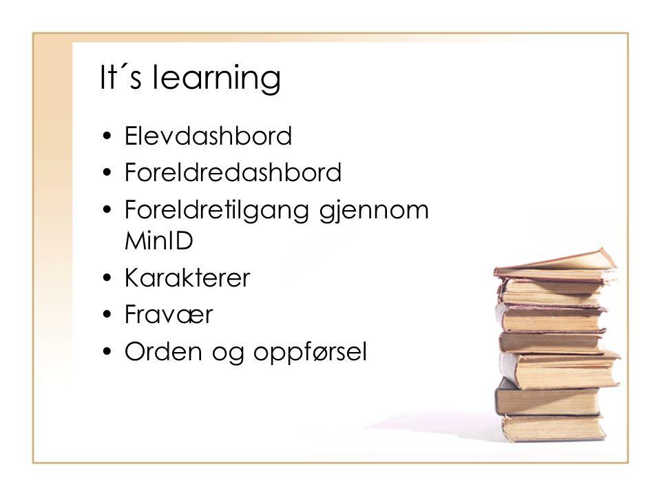 It´s learning Elevdashbord Foreldredashbord Foreldretilgang gjennom MinID Karakterer Fravær Orden og oppførsel