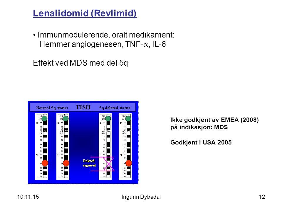 12 Lenalidomid (Revlimid) Immunmodulerende, oralt medikament: Hemmer angiogenesen, TNF- , IL-6 Effekt ved MDS med del 5q Ikke godkjent av EMEA (2008)