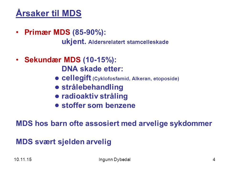 Ingunn Dybedal4 Årsaker til MDS Primær MDS (85-90%): ukjent. Aldersrelatert stamcelleskade Sekundær MDS (10-15%): DNA skade etter: cellegift (Cyklofos