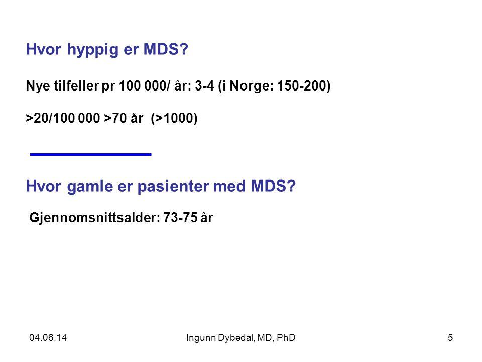 5 Hvor hyppig er MDS? Nye tilfeller pr 100 000/ år: 3-4 (i Norge: 150-200) >20/100 000 >70 år (>1000) Hvor gamle er pasienter med MDS? Gjennomsnittsal