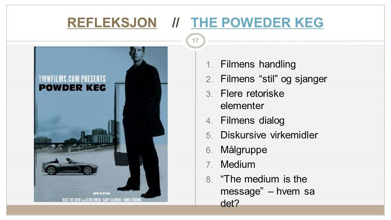 REFLEKSJON // THE POWEDER KEGTHE POWEDER KEG 1. Filmens handling 2.