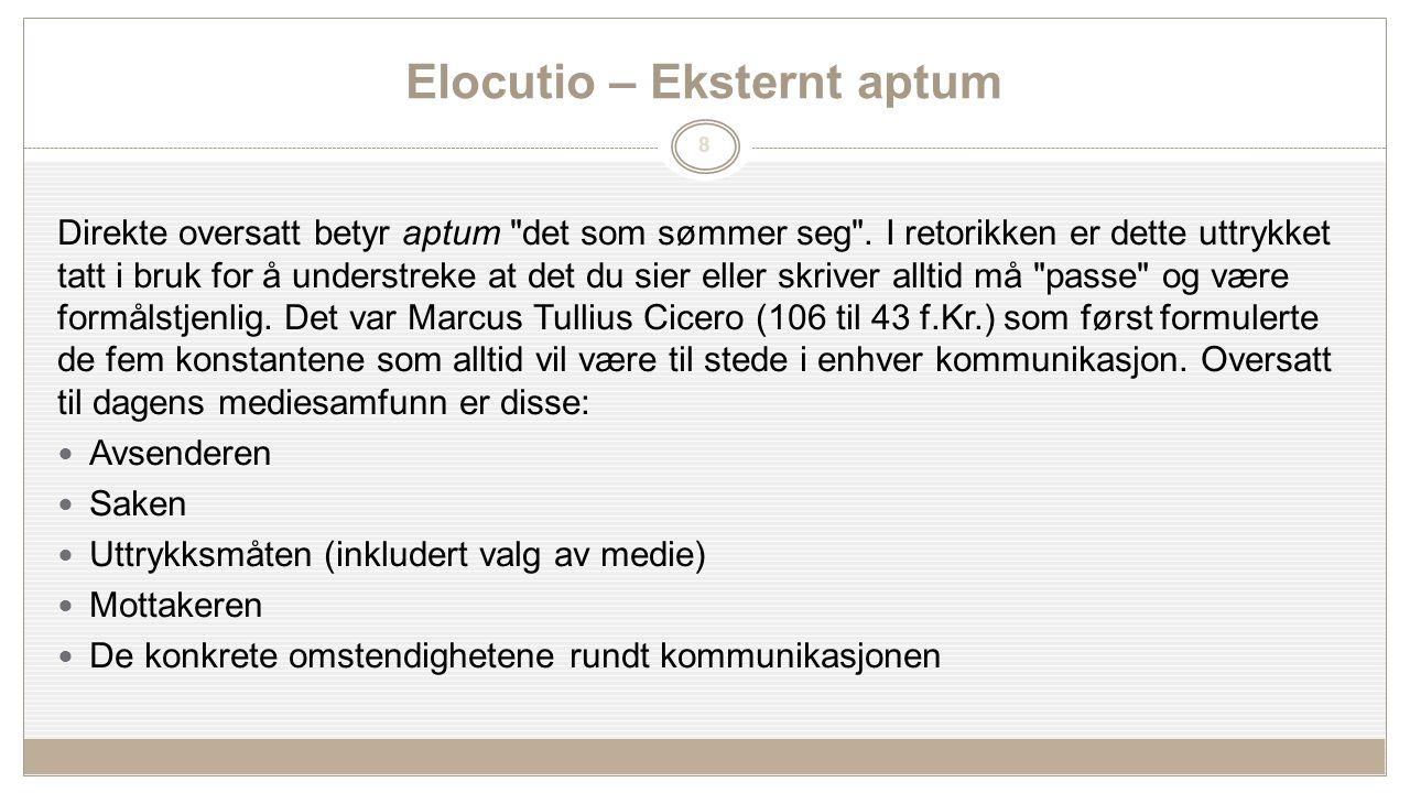 8 Elocutio – Eksternt aptum Direkte oversatt betyr aptum det som sømmer seg .