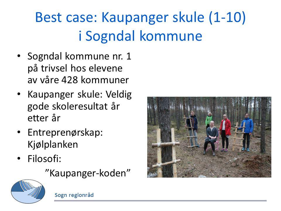 Best case: Kaupanger skule (1-10) i Sogndal kommune Sogndal kommune nr. 1 på trivsel hos elevene av våre 428 kommuner Kaupanger skule: Veldig gode sko