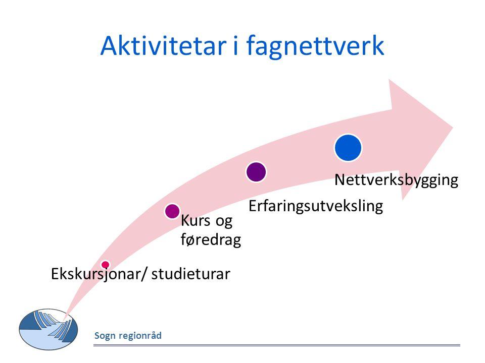 Aktivitetar i fagnettverk Sogn regionråd Ekskursjonar/ studieturar Kurs og føredrag Erfaringsutveksling Nettverksbygging