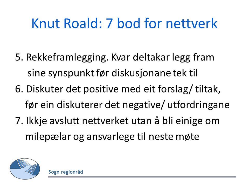 Knut Roald: 7 bod for nettverk 5. Rekkeframlegging. Kvar deltakar legg fram sine synspunkt før diskusjonane tek til 6. Diskuter det positive med eit f