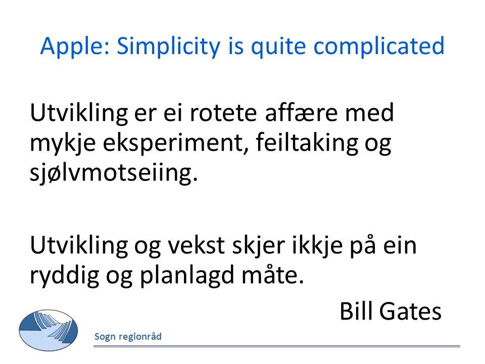Apple: Simplicity is quite complicated Utvikling er ei rotete affære med mykje eksperiment, feiltaking og sjølvmotseiing. Utvikling og vekst skjer ikk