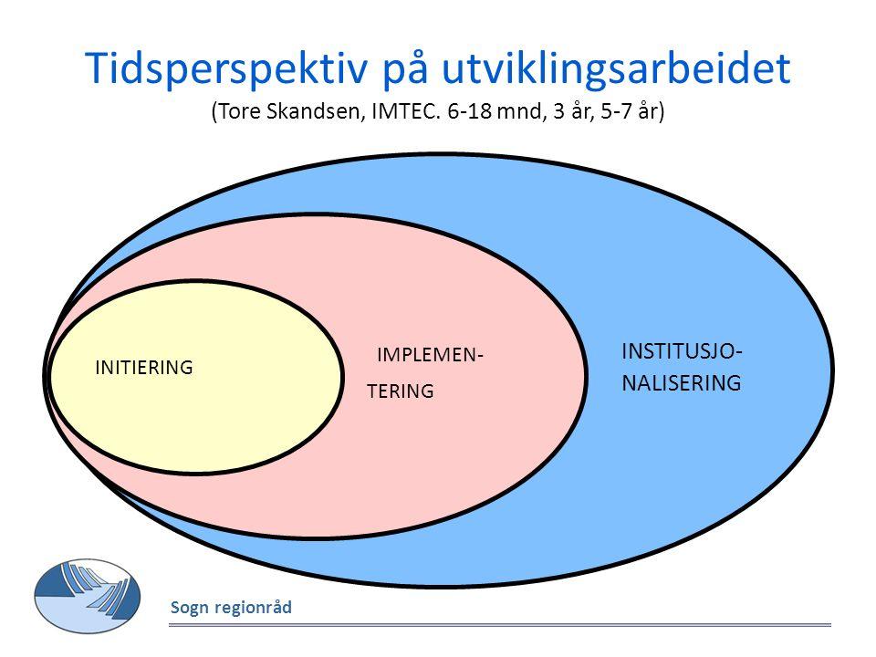 Tidsperspektiv på utviklingsarbeidet (Tore Skandsen, IMTEC. 6-18 mnd, 3 år, 5-7 år) Sogn regionråd INSTITUSJO- NALISERING IMPLEMEN- TERING INITIERING