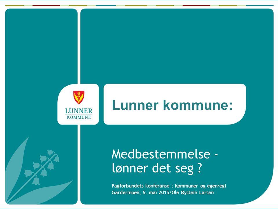 Lunner kommune Hadelandsregionen i Oppland fylke hvor Lunner er den sørligste kommunen Naboer: Nannestad, Nittedal, Oslo, Ringerike, Jevnaker og Gran kommune Skogkommune, 77 % av arealet.