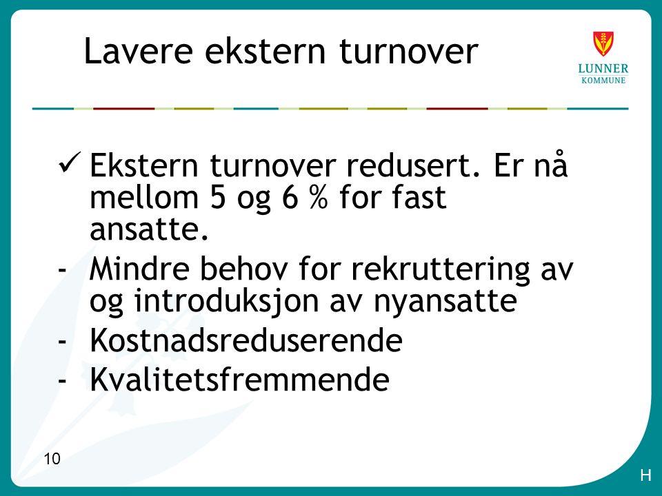 10 Lavere ekstern turnover Ekstern turnover redusert.