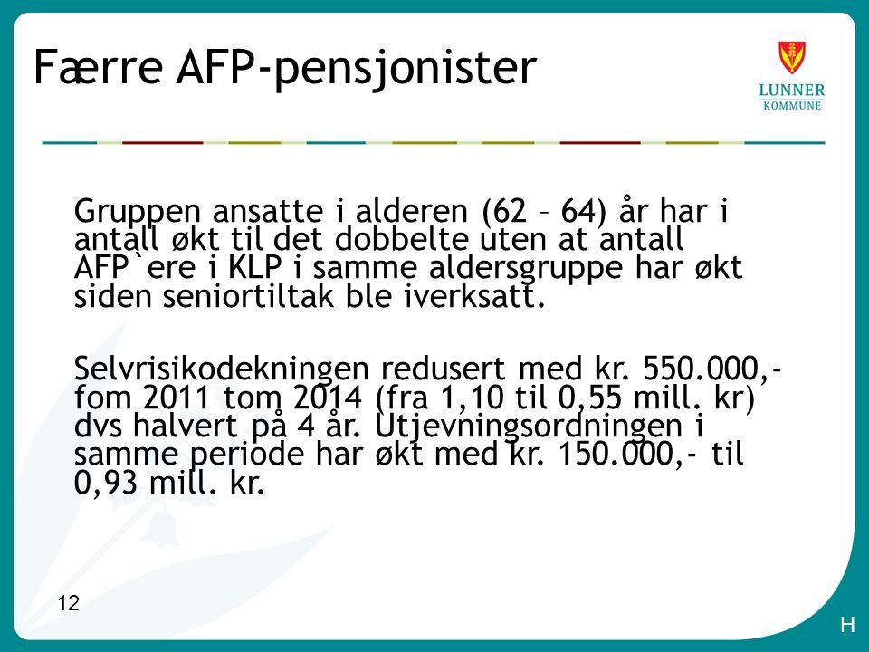 12 Færre AFP-pensjonister Gruppen ansatte i alderen (62 – 64) år har i antall økt til det dobbelte uten at antall AFP`ere i KLP i samme aldersgruppe har økt siden seniortiltak ble iverksatt.