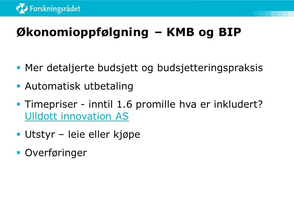 Økonomioppfølgning – KMB og BIP  Mer detaljerte budsjett og budsjetteringspraksis  Automatisk utbetaling  Timepriser - inntil 1.6 promille hva er inkludert.