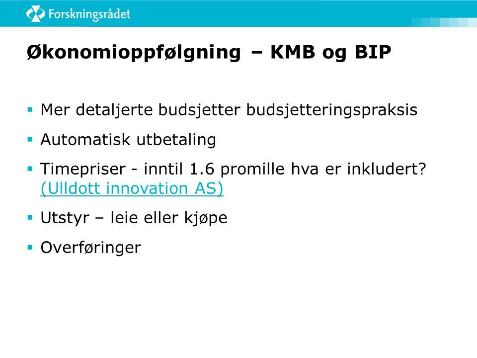 Økonomioppfølgning – KMB og BIP  Mer detaljerte budsjetter budsjetteringspraksis  Automatisk utbetaling  Timepriser - inntil 1.6 promille hva er inkludert.