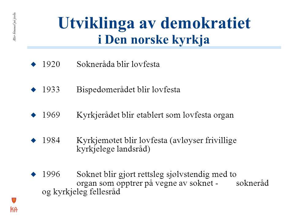 Utviklinga av demokratiet i Den norske kyrkja  1920Sokneråda blir lovfesta  1933Bispedømerådet blir lovfesta  1969Kyrkjerådet blir etablert som lov