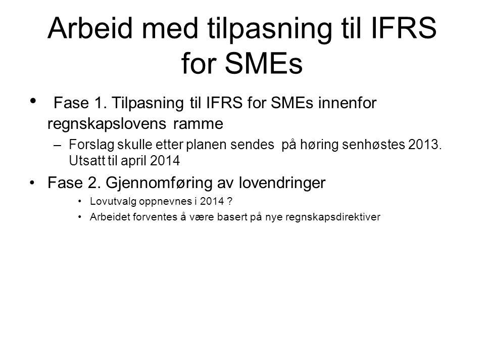 Arbeid med tilpasning til IFRS for SMEs Fase 1.