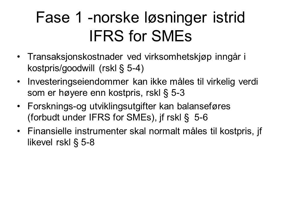Fase 1 -norske løsninger istrid IFRS for SMEs Transaksjonskostnader ved virksomhetskjøp inngår i kostpris/goodwill (rskl § 5-4) Investeringseiendommer kan ikke måles til virkelig verdi som er høyere enn kostpris, rskl § 5-3 Forsknings-og utviklingsutgifter kan balanseføres (forbudt under IFRS for SMEs), jf rskl § 5-6 Finansielle instrumenter skal normalt måles til kostpris, jf likevel rskl § 5-8