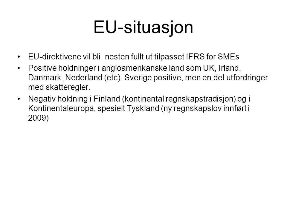 Nåsituasjon Norge På topp i frikobling regnskap/skatt i Europa (jf artikkel (Nobes/Schwencke i EAR nr 1/2006)- godt grunnlag for å ta regelverket i bruk Angloamerikansk tradisjon innen regnskap.