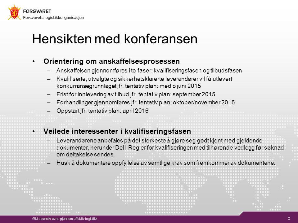 3 Agenda for gjennomføring Kort om bakgrunnen for anskaffelsen Beskrivelse av tjenesten o Leveransens art o Leveransens omfang Kvalifikasjonskrav Anskaffelsesregelverk (FOSA) Sikkerhetsanskaffelse – hva betyr det.