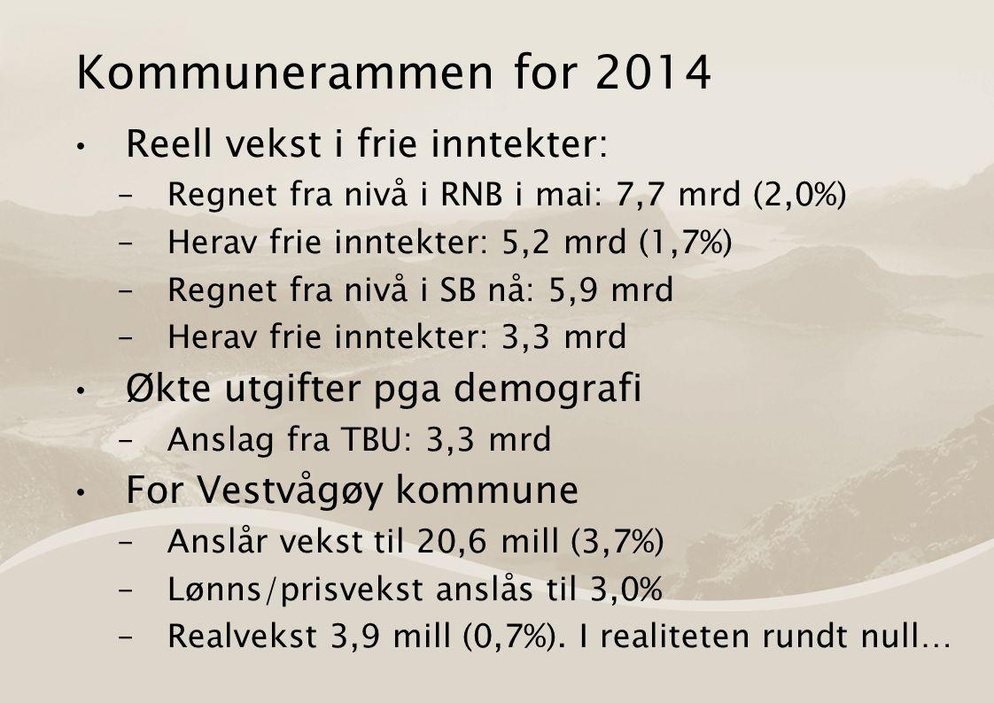 Kommunerammen for 2014 Reell vekst i frie inntekter: –Regnet fra nivå i RNB i mai: 7,7 mrd (2,0%) –Herav frie inntekter: 5,2 mrd (1,7%) –Regnet fra nivå i SB nå: 5,9 mrd –Herav frie inntekter: 3,3 mrd Økte utgifter pga demografi –Anslag fra TBU: 3,3 mrd For Vestvågøy kommune –Anslår vekst til 20,6 mill (3,7%) –Lønns/prisvekst anslås til 3,0% –Realvekst 3,9 mill (0,7%).